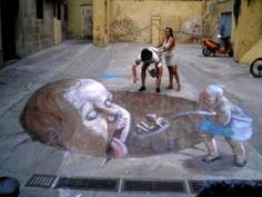 Awesome 3D Sidewalk Chalk Drawings
