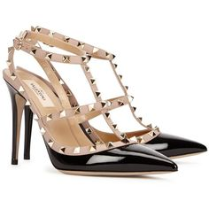 Womens Pointed-Toe Pumps Valentino Rockstud 100 Black Patent Leather... ($860) ❤ liked on Polyvore featuring shoes, pumps, black pumps, black patent leather shoes, heels & pumps, black high heel shoes and black strap pumps