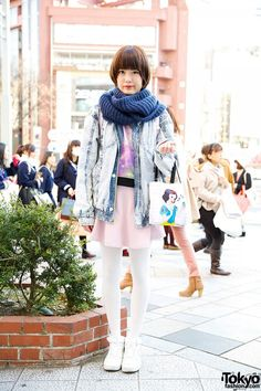 Acid Wash Denim Jacket w/ Galaxy Print & Snow White in Harajuku