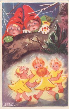 Lucie Lundberg postcard, via http://satuntarinat.blogspot.co.uk/2012/12/enon-perheelle-jouluna-1959.html