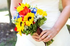 Red, Yellow & Blue Summer Wedding Bouquet| Photo by:   www.wwootenphotography.com