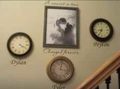 Stop a clock at the time that your children were born. Such a neat idea.