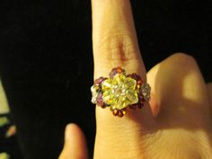 Swarovski Crystal Ring  yellow over red/blue size 995 by jsdd, $10.00