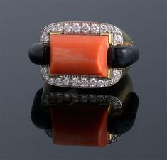 """Webb"" Coral, Diamond & Onyx Ring D=0.50cts app 18k & Plat (26 x 16mm) Price: $15,000 (hva)"