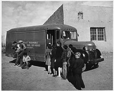 April 17 is National Bookmobile Day! Taos County, New Mexico. Children line up for books when Taos County project bookmobile visits school at Prado. From the Photographic Prints File of the Bureau of Agricultural Economics Native American History, American Civil War, British History, Art History, History Pics, Vintage Books, Vintage Photos, Dorothea Lange Photography, Taos New Mexico
