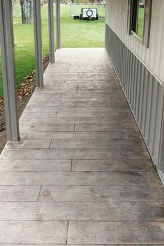 Wood Grain stamped concrete porch