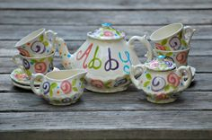 Colorful  Flowers Tea Party Personalized Tea Set and Tea Cups for little girls by hollyslay, $80.00