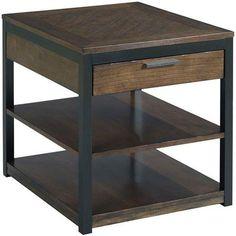 Hammary 529-915 Franklin Rectangular Drawer End Table in Warm Cherry/Dark Bronze - KD