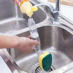 Plats éponge propre brosse poignée amovible bol Pan de nettoyage brosses outil forte décontamination propre fournitures de cuisine