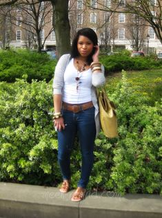 MEEK~N~MILD | By Shirley B. Eniang: plain t, jeans, brown belt, brown sandals, long cardigan, bangles