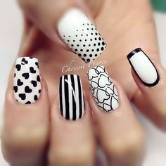 45 Stylish Black and White Nails Designs 2015