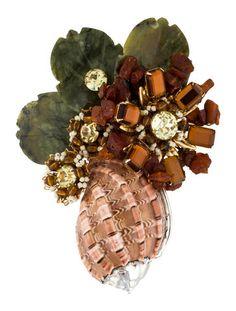Lawrence Vrba Floral Crystal Brooch
