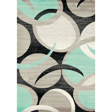 Tobis Abstract Swirl Turquoise Area Rug