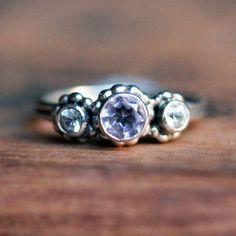 Crush ring trio  3 stone ring  lavender amethyst by metalicious, $178.00