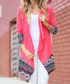 This Coral & Black Geometric-Trim Sidetail Cardigan is perfect! #zulilyfinds