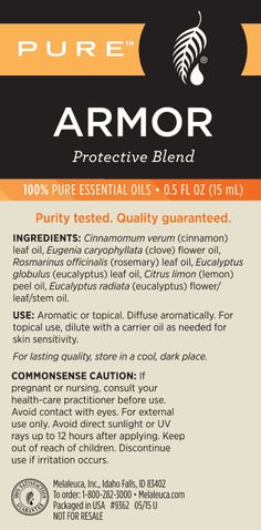 New PURE™ Armor Protective Essential Oil Blend – Melaleuca - tancemesne. Melaleuca Essential Oil, 100 Pure Essential Oils, Pure Oils, Essential Oil Uses, Melaleuca The Wellness Company, Cinnamon Leaf Oil, Natural Oils, Natural Cures, Trends
