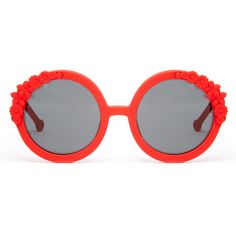Preen Preen Bouquet 2 Red Rubber Round Shape Sunglasses 033762 ($93) ❤ liked on Polyvore featuring accessories, eyewear, sunglasses, red, red sunglasses, red lens sunglasses, tinted glasses, uv protection sunglasses and floral sunglasses