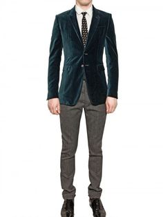 Burberry Prorsum Compact Velvet Fitted Jacket in Blue for Men (green) - Lyst