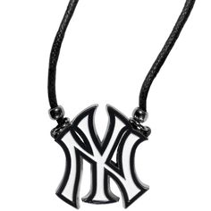 Description: This classic style cotton cord necklace features an extra large New York Yankees pendant on a 21 inch cord. Features: - Officially licensed MLB product - 21 inch cotton cord necklace - Be