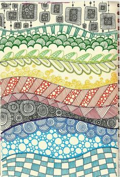 Large page drawing inspired by Zentangle Doodles Zentangles, Zentangle Patterns, Zen Doodle Patterns, Art Patterns, Color Patterns, Doodle Drawings, Doodle Art, Flower Drawings, Tangle Art