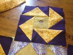 Block for quilt made from tan and purple crown Royal bags Crown Royal Quilt, Crown Royal Bags, Royal Crowns, Quilt Block Patterns, Pattern Blocks, Quilt Blocks, Royal Pattern, Man Quilt, Quilt As You Go