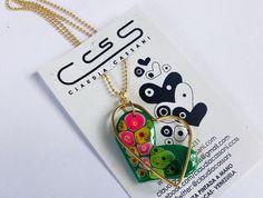 Collar de corazón con acrílico verde pintado a mano #ClaudiaCassani
