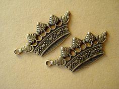 4pcs Big CROWN35mm Antiqued Bronze Charms Pendant by yooounique