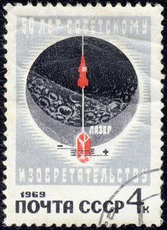 Russia – Sputnik era moon graphic with satellite