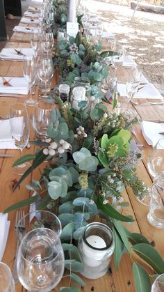Fynbos is perfect for a rustic themed wedding reception. We created these beautiful table runners for Nikki's wedding. This is a great example of how simple flower decor can have a big impact and bring a theme to life. Rustic Wedding, Wedding Reception, Our Wedding, Wedding Tables, Wedding Bells, Party Table Decorations, Flower Decorations, Wedding Decorations, Dinner Party Table