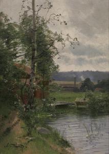 Alfred Thorne (1850-1916): Röd Stuga Vid Sjö