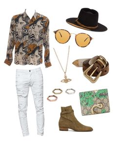 """""""Bronze effects"""" by trevor-walker-1 on Polyvore featuring Dsquared2, Dries Van Noten, Yves Saint Laurent, Ray-Ban, Brunello Cucinelli, Gucci, Vivienne Westwood, ASOS, Nick Fouquet and men's fashion"""