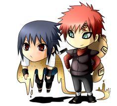 Sasuke and Gaara chibi! <3 | We Heart It | chibi and naruto