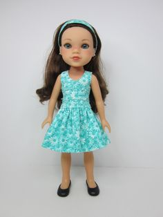 Hearts 4 Hearts doll clothes-   Aqua and white flowered  lisianthus dress and headband. by JazzyDollDuds on Etsy https://www.etsy.com/listing/267903210/hearts-4-hearts-doll-clothes-aqua-and