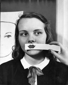 Teenager Helen Honey Modeling Lipstick Fashions 1945