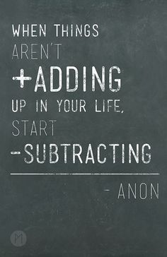 Start subtracting. Now!