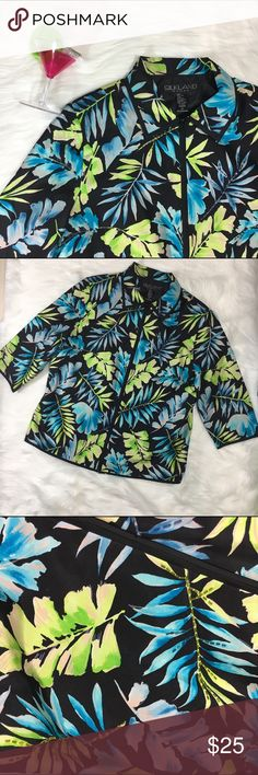 SILKLAND Woman Beaded Tropical SILK Shell • Beautiful Beaded Shell Jacket  • Hidden Zipper Front • 100% Silk • Lining 100% Polyester  • Dry Clean Only  • Back Waist Darts • Side Bust Darts  • Bust 23 1/2 inches  • Length 27 inches  • Arms 18 inches SilkLand  Jackets & Coats