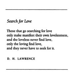 Search for Love - D.H. Lawrence
