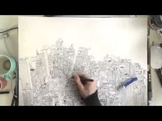Timelapse video of artist Patrick Vale drawing the view of the Manhattan skyline from the Empire State Building.