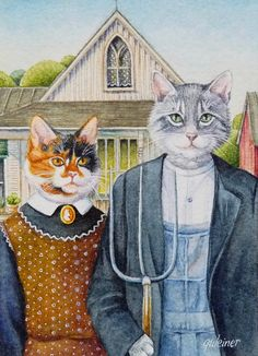American Gothic Parody Kitty Cats 3 x 2 Giclee Fine Art Limited Edition Print This ACEO (Art Cards Editions and Originals) is a American Gothic Painting, American Gothic House, American Gothic Parody, Grant Wood, Famous Artwork, Animal Heads, Art Institute Of Chicago, Gothic Art, Cat Gifts