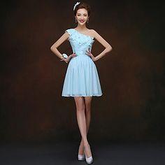 Sheath/Column One Shoulder Short/Mini Chiffon And Lace Chinson Bridesmaid Dress Blue – USD $ 29.99