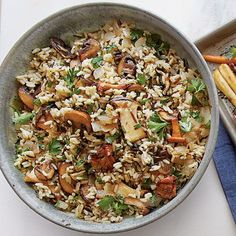 Wild Rice with Mushrooms | Dress up a package of long-grain and wild rice mix with the addition of fresh mushrooms and Marsala. It will be a guaranteed hit on your holiday table.