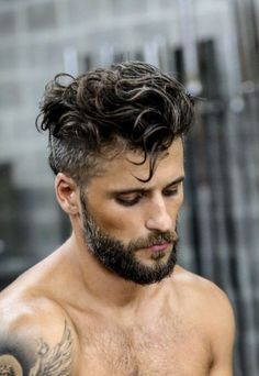 undercut curly hair with beard