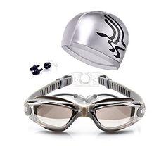 7852c79ad28 Swimming Goggles + Swim Cap + Case + Nose Clip + Ear Plugs Swim Goggles  Waterproof