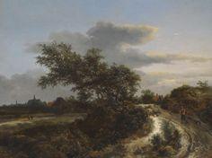 Jacob van Ruisdael - Duinlandschap met boer op een zandweg, en in de verte Haarlem