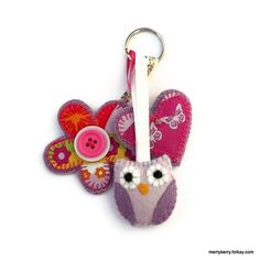 Felt Owl Bag Charm - Folksy
