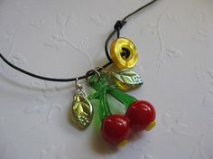 Sweet Little Cherry Necklace with czech by BloomingVioletStudio, $28.00