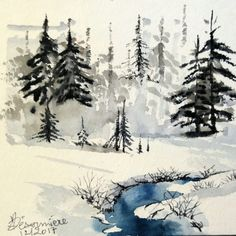 Aquarelle M.P Désormière La rivière en Hiver #aquarelles #watercolor #neige #rivière #winter #landscape