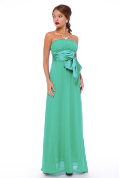 Special Occasion Maxi-Lenght Bright Green Dress by BeIn16.com