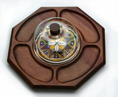 70s Retro Wood & Dome Serving Platter Painted Round Tile - Dips Cheese Chips Hor Derves Serving Tray Signed Made in Japan Near Mint Conditon. $38.00, via Etsy.