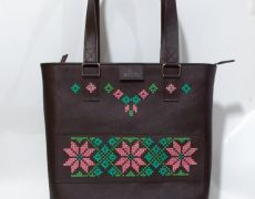 Geanta piele mare cusuta cu motiv popular Leather Bags Handmade, Shoulder Bag, Shoulder Bags